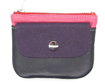 Leather zip purse in blue purple pink