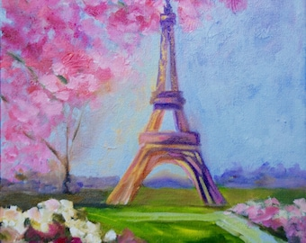 Eiffel Tower France 11 x 14 Modern Impressionist Original Oil Painting of The Eiffel Tower Spring Landscape by Rebecca Croft
