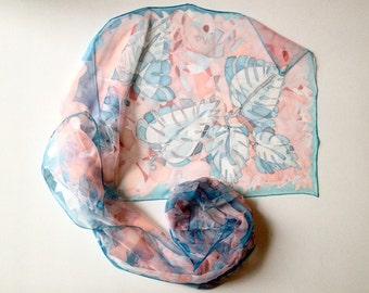 Silk scarf for woman - hand painted silk scarf - blue and pink silk scarf - woman scarf - chiffon silk scarf