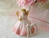 Vintage Bone China Josef Pink Birthday Figurine, Tenth Birthday Figurine, Pink Josef Angel, Collectible Josef Figurine