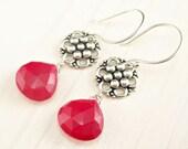 Red Chalcedony Earrings, Bali Sterling Silver Red Earrings, Red Gemstone Earrings, Ruby Red Dangle Earrings, Red Stone, Sterling Silver Drop