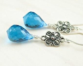 Swiss Blue Quartz Dangle Earrings Bali Sterling Silver, Caribbean Blue Gemstone Earrings Ocean Blue Stone Sterling Silver Statement Earrings