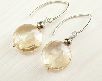 Champagne Quartz Earrings, Golden Yellow Earrings, Sterling Silver, Gold Pyrite, Gemstone Coin Earrings, Mystic Quartz Dangle, Apricot Drop