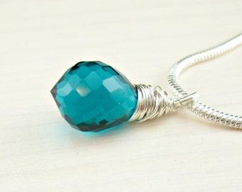 Teal Quartz Necklace, Teal Quartz Pendant, Sterling Silver Chain Necklace, Sterling Silver Snake Chain, Teal Gemstone, Gemstone Solitaire