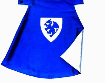 Knight Cloak for Halloween Dragon Shield Blue and Silver , 2T - 7T, multiple color options pretend play dress-up imaginary play fast ship