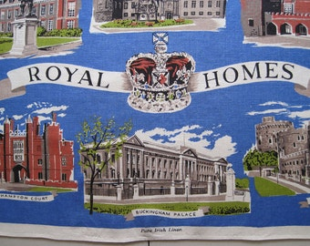 Old Bleach Vintage Souvenir Irish Linen Tea Kitchen Dish Towel Royal Homes Blue English England