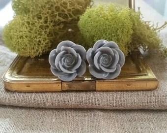 Flower Plugs, Wedding Gauges, Gray, Roses