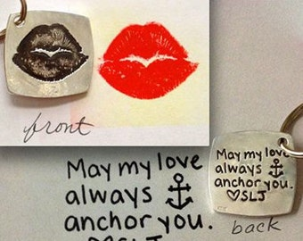 Anniversary or Deployment Day Kiss Print Gift Your actual Kiss in Silver - Double Sided with your actual writing on the back - made to order
