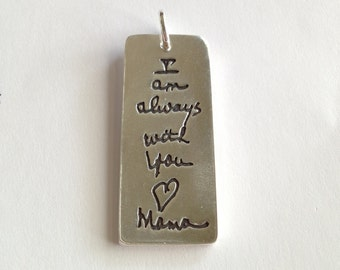 Custom Designed SIlver Tablet necklace - Your Lost Loved ones Writing (or you own writing) larger Size