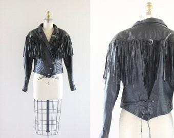 S A L E black leather fringe / corset jacket