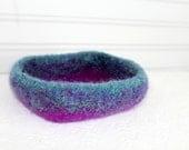 Wool Basket in Blue, Green, Purple, Knit Felt Storage Basket, Boiled Wool Storage Basket, Turquoise Wool Storage Container, Purple Felt Bowl