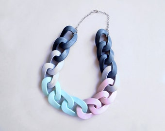 Chain Link Statement Necklace, Pastel Color Block Chunky Necklace in mint, grey, white