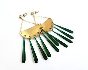 Brass Statement Earrings, Chandelier Drop Earrings, Gold Green or Gold white Earrings