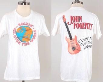 Vintage 80s JOHN FOGERTY concert tour t shirt / Creedence Clearwater Revival legend / Screen Stars label Large