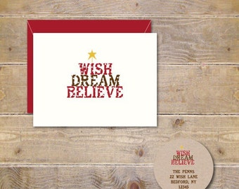 Christmas Cards, Holiday Cards, Wish, Dream, Believe, Handmade, Christmas Card Set, Vintage Christmas, Cards, Stars