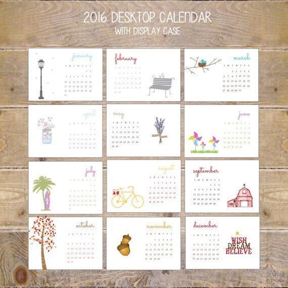 Desk Calendar, 2016 Calendar, Calendar 2016, Office Calendar, Desktop Calendar, Mason Jars, Office Gift, Christmas Gift, Stocking Stuffer