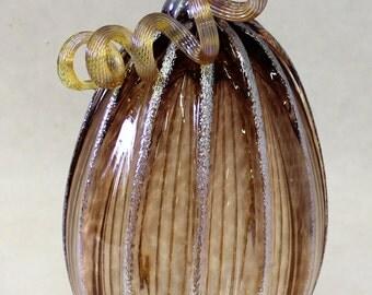 Hand Blown Glass Art Sculpture Tea Pumpkin Oneil 6188