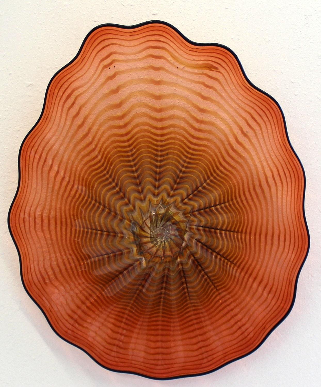 beautiful hand blown glass art wall platter spiral wrap peach. Black Bedroom Furniture Sets. Home Design Ideas