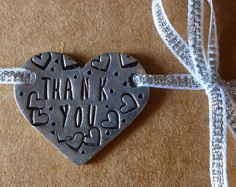 Hand Stamped Metal Heart Thank You Tag, Thank You Tag, Bridesmaid Gift, Wedding Gift, Wedding Favor, Thank You Gift