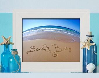 BEACH BUM - Beach Wall Art- Beach Bum written in sand - Beach Bedroom - Teen Room - Gift for a Surfer - Beach Dorm Room Decor - Unique Gift
