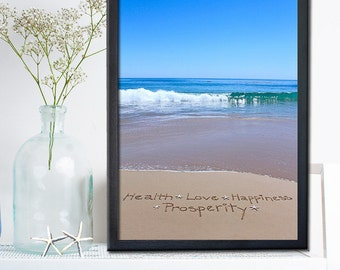 Health Love Happiness Prosperity Sign - Housewarming Gift  - New Home Gift- Great Teacher Appreciation Gift - Unique Beach Wedding Gift