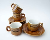French vintage ad CUP saucer⎮BISQUIT COGNAC French coffee⎮espresso cup⎮white brown ceramic⎮mid century modern retro⎮French touch⎮set of 4