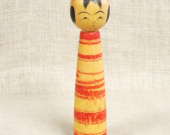 Vintage Japanese Wooden Kokeshi Doll, Japan, Folk Art, Female , Natural Wood, Red, Asian,Japanese Toys,Female,Souvenir,Far East,Collectibles