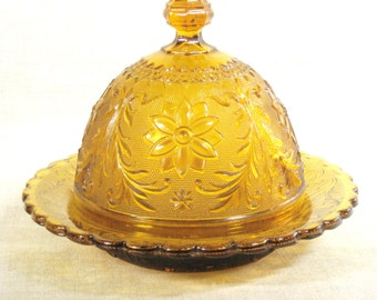 Vintage Amber Glass Butter Dish, Dome, Cloche, Lidded Dish, Pressed Glass, Carnival Glass, Serving Dish, Floral Motif, Cheese Dome, Domed