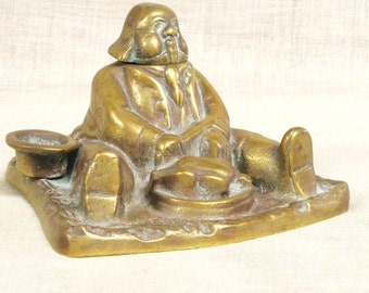 Inkwell , Brass Inkwell , Desk Acessory , Desktop , Office , Collectible Inkwell ,Figurative Inkwell , Male Portrait , Male Figure , Top Hat