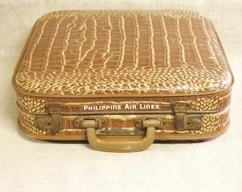 Vintage Toy Suit Case, Luggage, Air Line Souvenir, Philippine Air Lines, Transportation, Travel Case, Faux Crocodile, Mid-Century,Child Size