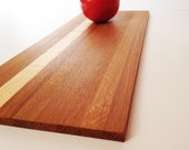 "Handmade Wood Cutting Board - Thin Rustic Plank - White Oak with one strip of Hard Maple - 15-1/2"" x 6-1/4"" x 3/8"""