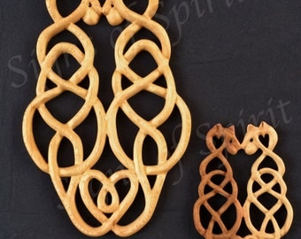 Cat Love Knot in Miniature-Wood Carved Celtic Style-Anti CoDependency Knot-Two Cats Tails Entwined Bodies Separate-Healthy Relationship