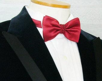 Red Textured Rhinestoned Pre-tied Adjustable Bow Tie - Red Rhinestones
