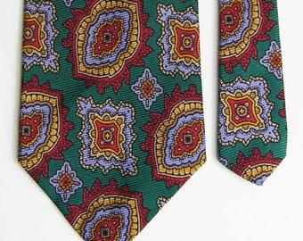 Vintage Polo Ralph Lauren Silk Tie - Bold Paisley Medallion Pattern Necktie - Green, Red, Yellow & Lavender