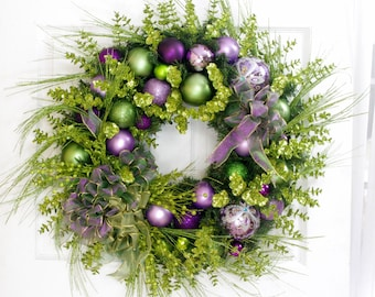 Christmas Wreath * Christmas Decor * Holiday Wreath * Lavender and Green Wreath * Front Door Wreath * Holiday Decor * Victorian Wreath