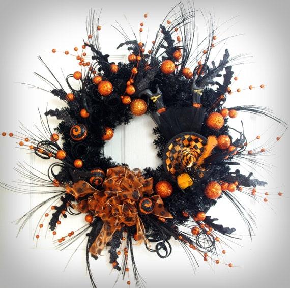 Black Flower And Crow Halloween Wreath: Halloween Wreath Witch Wreath Orange And By