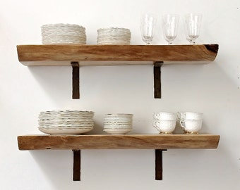 Floating Shelf Live Edge Slab Wood Open Shelving
