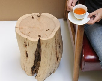 Tea Time Stump Table Rustic Modern Stool Kiln Dried No Seal
