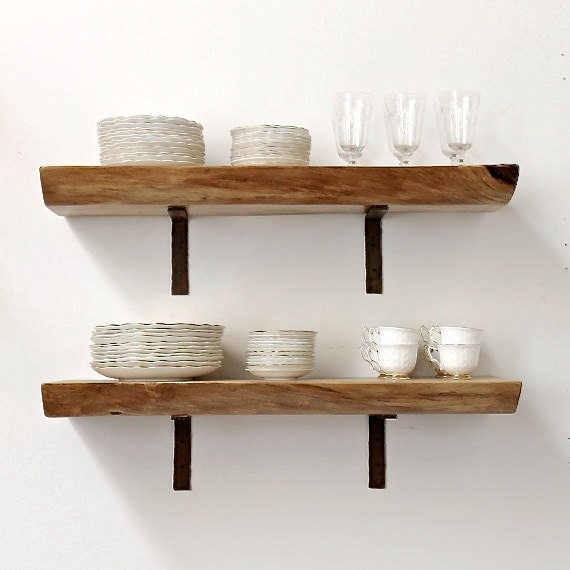 Floating shelf live edge slab wood open shelving Open shelving