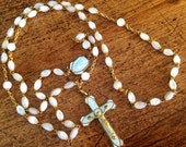 Vintage Rosary ~ Mother of Pearl ~ Traditional home design ~ Prayer ~ European Findings ~ Rosary ~