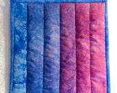 Potholder -- Ombre in Hand Dyed Shades of Blue to Purple-Pink, Hotpad, Mug Rug, Snack Mat