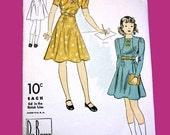 1930s Girl's Dress Pattern by Du Barry No. 1893B - Bolero Dress Pattern dated 1938 - Size 16 for Girls - 34 Bust - Girl's Dress and Jacket