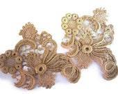 Antique Ecru Victorian Cotton Lace Appliques - Edwardian Embellishment - Lace Trim - Priced for One But Multiple Appliques Available in Lots