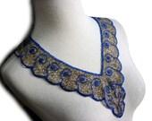 1920s All Beaded Collar Silvery Grey Bugle and Royal Blue Beads in Cream Net - Scallop Edge Bead Collar with Swirl Design - Beadwork Collar