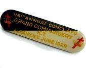 1920s Knights Templar Brooch Pin Memorabilia Regalia Jewelry 166th Annual Conclave Grand Commandery K.T. Albany June 1929 Masonic Freemason