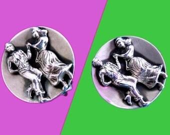 1950s Sterling Silver Dancing Couple Clip Earrings - Country Dancing Earrings - Dancer Earrings - Two-Step Earrings - Man and Woman