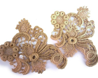 Victorian Cotton Lace Appliques - Edwardian Embellishment - Lace Trim - Priced for One But Have Multiple Appliques Available