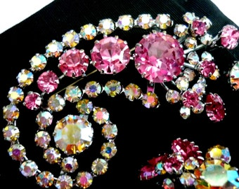 1950s Rhinestone Brooch and Clip Earring Demi Parure Set Pink and Clear Round and Marquise Rhinestones Wedding  and Black Tie Jewelry