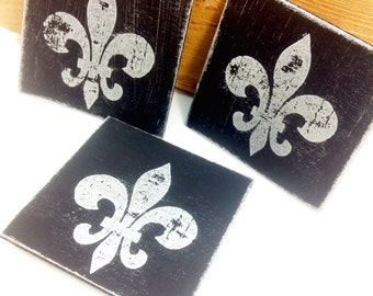 Fleur de lis (3) Decorative Magnets ~ I love these ~ Black and silver