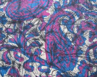 Vintage Paisley Cotton Print Fabric-2.8 yards-blue purple black scribble cobweb lines